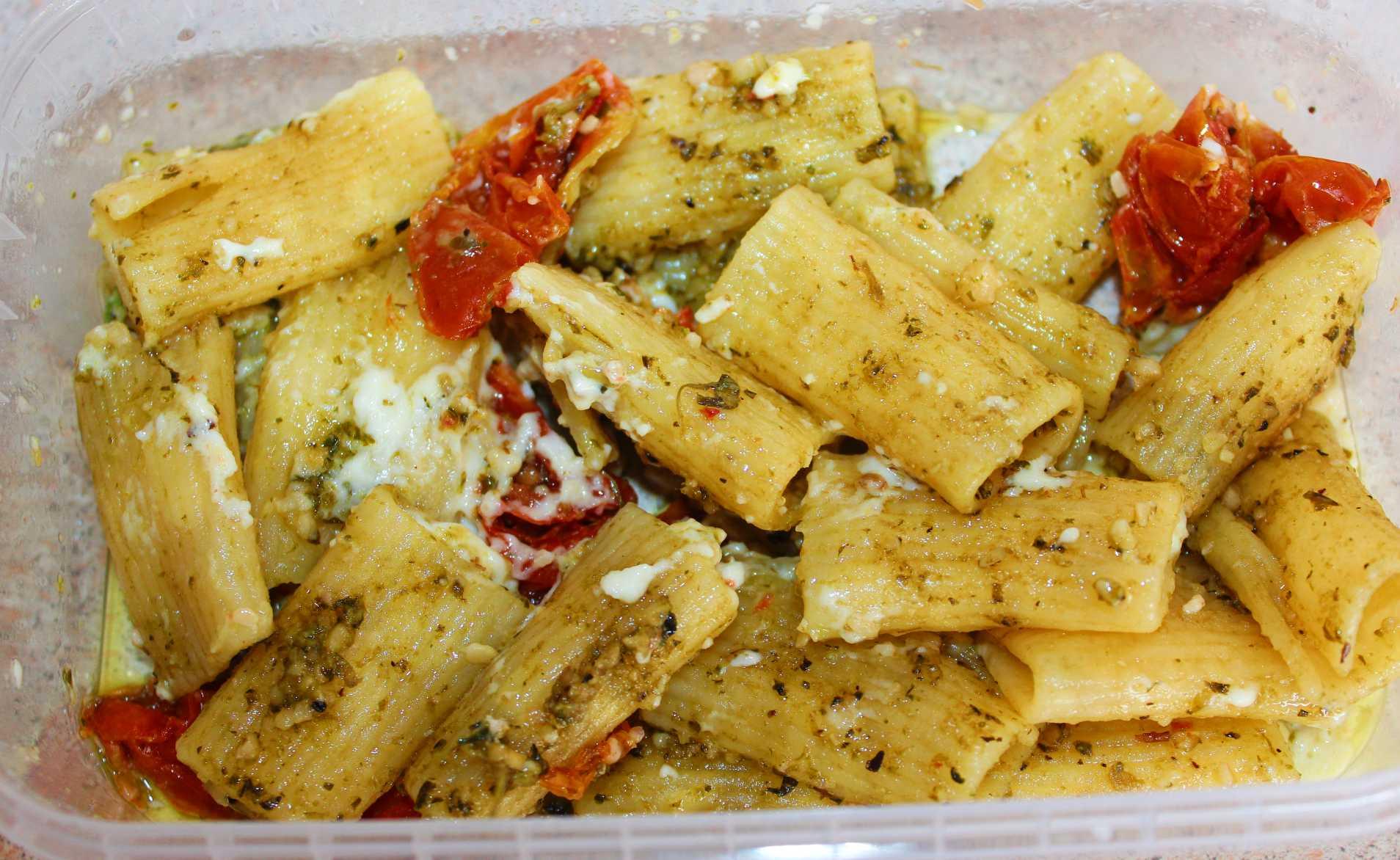 Pesto, Feta and Sun Dried Tomato Rigatoni